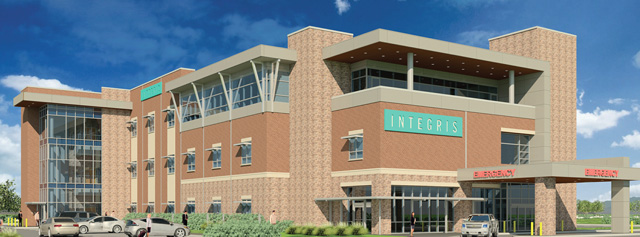 An artist's rendering shows Integris Community Hospital at its proposed location at 3391 S. Interstate 35 Service Road in Moore. (Integris / provided)