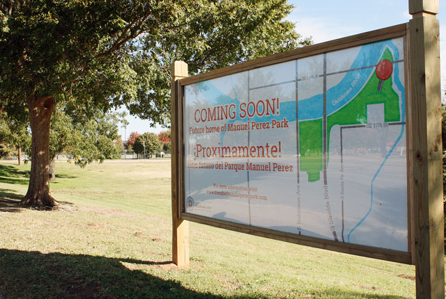 The future home of the Manuel Perez Park sign in front of the parkland near S. Robinson Avenue and SE 17th Street. (Laura Eastes)
