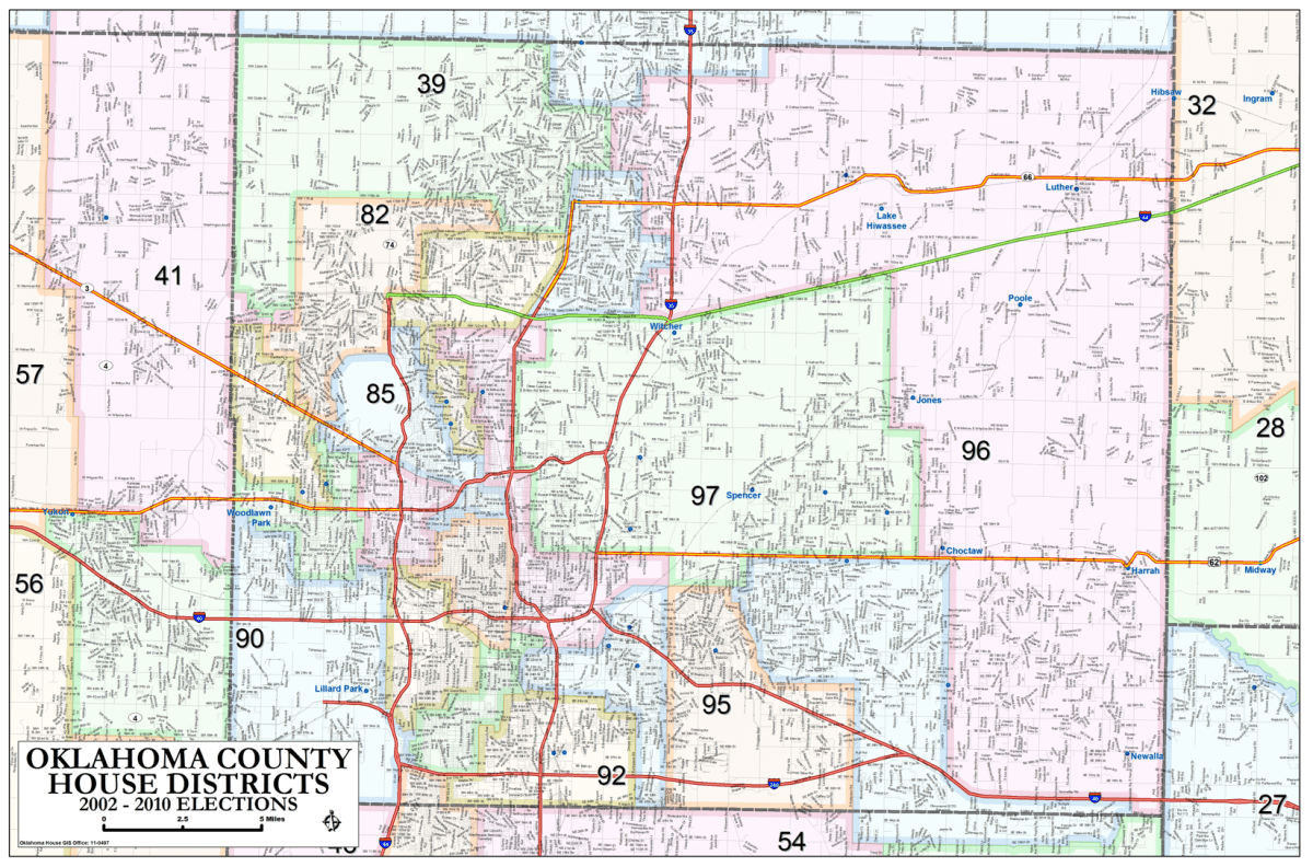 Oklahoma County - House Districts Metro Area Map