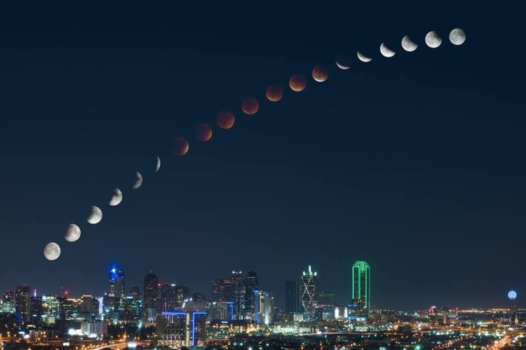 Looking Up — Lunar Eclipse over Dallas by Mike Mezeul
