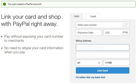 Paypalの登録 ③クレジットカード登録