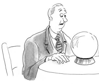 perplexed man looking into crystal ball