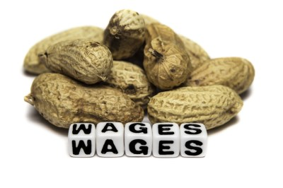 Poor wages in terms of peanuts.