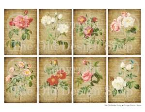 Vintage Cards Roses Digital Collage Sheet