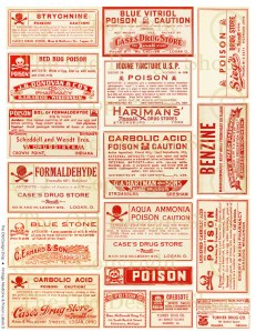 Red White Vintage Poison Labels