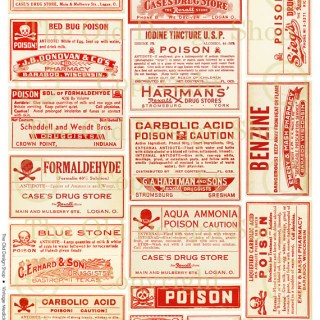 New Digital Collage Sheet ~ Vintage Poison Labels