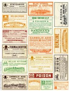 Halloween Colored Vintage Poison Labels