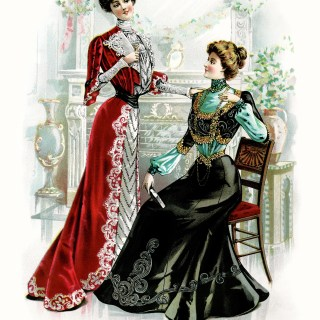 Red and Black Victorian Ladies Dresses