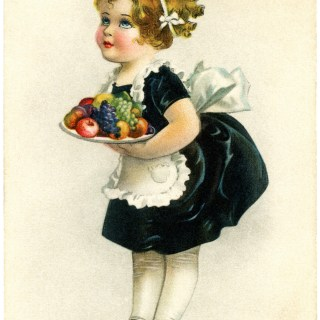 Little Maid Serving Fruit Vintage Thanksgiving