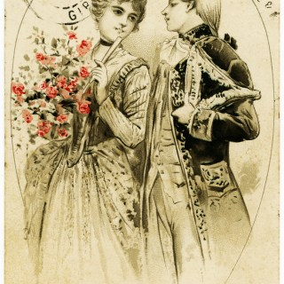 Vintage French Couple in Love Postcard