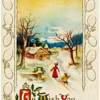 Snowy Country Scene Vintage Christmas Card