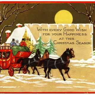 Horse Drawn Carriage Vintage Christmas Card