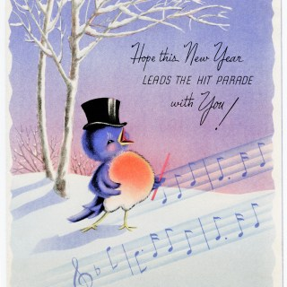 Happy Singing Bird Vintage New Year Card