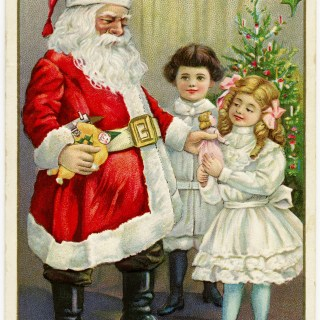 Santa Giving Children Gifts Vintage Postcard