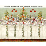 mrs beeton's table setting, supper buffet for ball room, evening party place setting, vintage kitchen clipart, old cookbook page