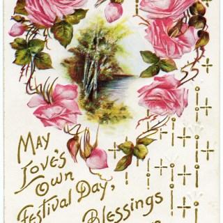 Heart of Pink Roses Vintage Postcard
