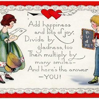 Retro Children's Valentine Postcard