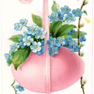 Pink Egg Blue Flowers Vintage Easter Card