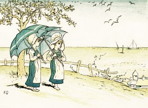 free vintage image, graphic design digital illustration, kate greenaway, under the window, girls walking with umbrellas, circa 1880, victorian girls, old book illustration, old design shop, free vintage clipart, 2 girls walking with umbrellas