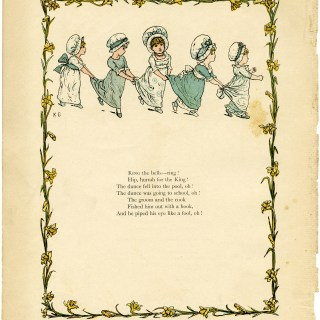 kate greenaway, under the window, circa 1880, vintage children playing, old book illustration, girls in blue playing games, ring the bells poem, free digital clipart, free vintage graphic design resource, free printable, public domain illustration, old book page, old design shop, free vintage childrens poem