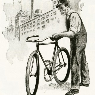 Free Digital Image ~ Man with Bicycle 1919