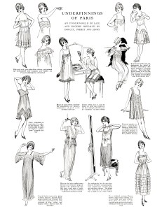 free digital collage sheet, underpinnings of paris 1917, vintage fashion 1917, the delineator page, free digital download, free printable vintage image, free vintage clipart, black and white digital collage sheet, lingerie and lace collage sheet, victorian lady, vintage fashion illustrated