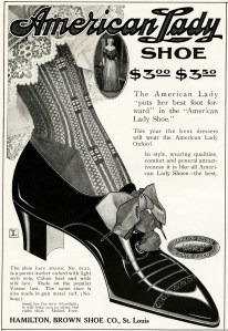 vintage shoes advertisement, vintage American Lady shoe, Hamilton Brown Shoe Co antique shoe ad, free vintage clipart shoe