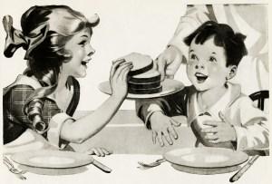 free vintage clipart children, girl and boy eating bread, homemade bread sliced, children having lunch