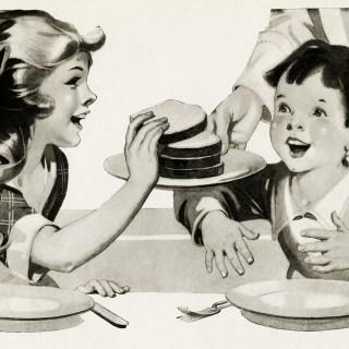 Children Eager for Bread Vintage Illustration