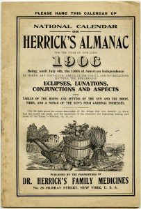 herrick's almanac front cover 1906, national calendar shabby digital page, dr herrick's family medicines almanac, free vintage clipart fall