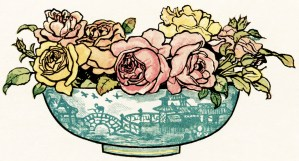 vintage bouquet of flowers in vase, pink yellow flowers, vintage clipart flowers, Kate Greenaway flowers. free vintage image for graphic design, floral image for scrapbooking, pretty antique flowers