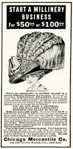 millinery business vintage ad, free vintage image, vintage magazine ad, huge ladies hat, extravagant large victorian hat, free vintage clipart hat, chicago mercantile co vintage advertisement