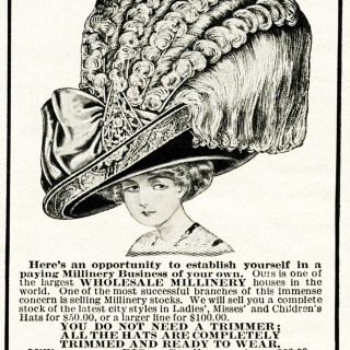 Large Hat Millinery Business Ad