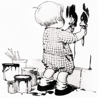 Little Boy Painting the Wall ~ Vintage Clipart