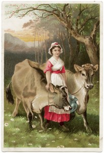 vintage trade card, Dr Jayne's expectorant, Dr Jayne's liniment, Dr Jayne's vermifuge, cows and milkmaid, victorian advertising card, free vintage image