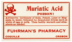 vntage poison label,muriatic acid,red white poison label,clip art poison,vintage halloween clipart