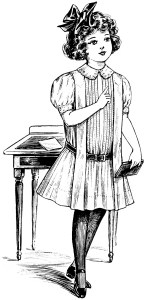 free vintage images, free school clipart, black and white clipart, vintage school girl, vintage girl dress illustration, vintage fashion sketch, victorian girls fashion