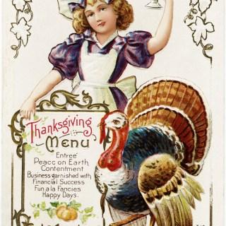 Free Vintage Thanksgiving Menu Postcard