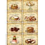 vintage sweets, digital collage sheet, vintage cake image, atc background, art journal cards