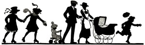 free vintage clipart, family silhouette, vintage family image, old fashioned fun clip art, family activity silhouette
