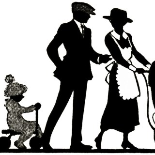 Free Vintage Clipart ~ Family Stroll Silhouette