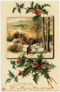 free vintage image, merry christmas postcard, antique christmas graphic, old fashioned christmas, holly and berries clipart
