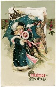 free vintage chirstmas graphic, children snowball fight illustration, blue coat umbrella winsch, john winsch christmas postcard 1911, old fashioned christmas children image