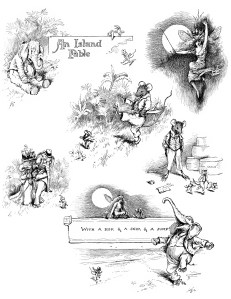 digital collage sheet, elephant image, mouse graphic, fairy illustration, alvred bayard island fable, storybook images