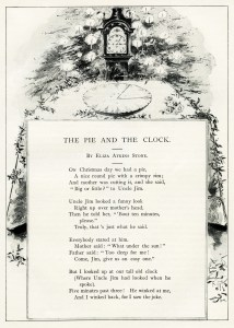 vintage christmas poem, pie and the clock, antique christmas poetry, old christmas illustration, eliza atkins stone