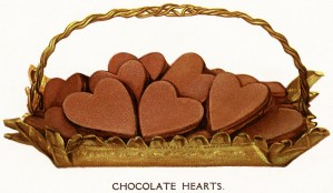 chocolate hearts, free vintage food illustration, chocolate clipart, basket of hearts, valentine clip art