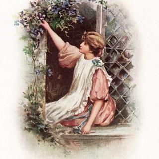 Free Vintage Image ~ Girl on Windowsill Picking Flowers