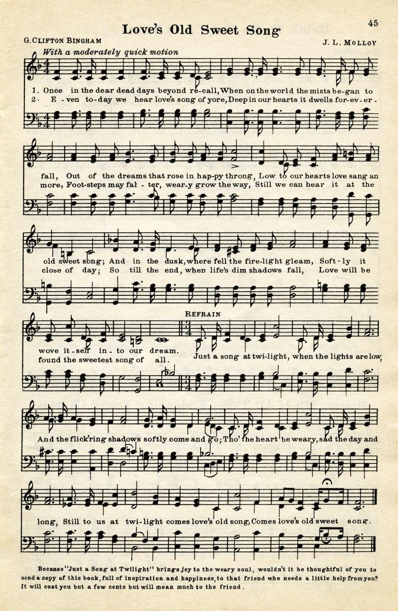 Candid image inside vintage sheet music printable