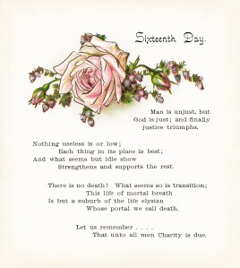 antique book page, digital floral illustration, vintage flower image, longfellow poetry, roses and lilies, sixteenth day poem, free vintage clipart flower