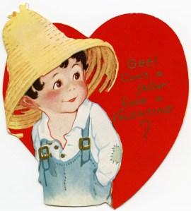 vintage valentine, country boy clipart, old fashioned valentine graphic